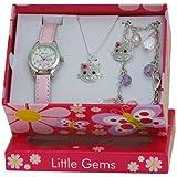 Ravel Children's Jewellery Set: Little Gems Pussycat Watch, Charm Bracelet, Pussycat Necklace in Presentation Box