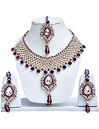 Jewels Guru Exclusive Golden Pink Blue Necklace Set.