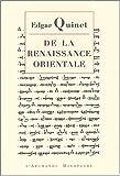 echange, troc Edgar Quinet - De la renaissance orientale