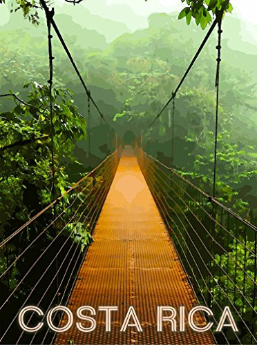 Costa Rica Beach Rainforest Expansion Bridge Central America Travel Poster Advertisement (Central America Poster compare prices)