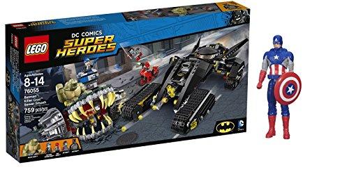 LEGO Super Heroes Batman: Killer Croc Sewer Smash 759 Pcs & free Gifts Super Hero Adventures Series Captain America (Colors may vary) Toys