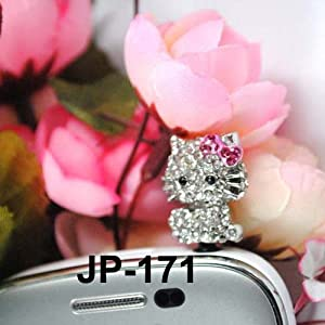 Kitty Rhinestone (JP-171) Dust Plug / Earphone Jack Accessory / Ear Cap / Ear Jack for Iphone / Samsung / HTC / All Device with 3.5mm Jack
