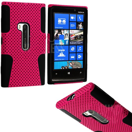Mylife (Tm) Deep Pink And Dark Matte Black Perforated Mesh Series (2 Layer Neo Hybrid) Slim Armor Case For The Nokia Lumia 920, 920.2, 920T And 920 4G Camera Smartphone By Microsoft (External Rubberized Hard Shell Mesh Piece + Internal Soft Silicone Flexi