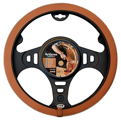 ARTISAN handmade steering wheel cover, designed in Italy, tobacco brown with white stitch, fits all 14.5