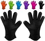 Belmalia 2 gants de cuisson en silicone pour cuisines et barbecues, set, paire, maniques, gants de four Noir