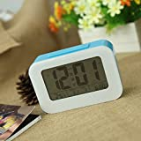 Anself LED Digital Alarm Clock Repeating Snooze Light-activated Sensor Backlight Time Date Temperature Display (Blue)