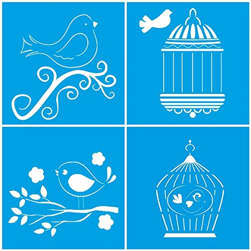 set-of-4-10cm-x-10cm-reusable-flexible-plastic-stencil-for-graphical-design-airbrush-decorating-wall