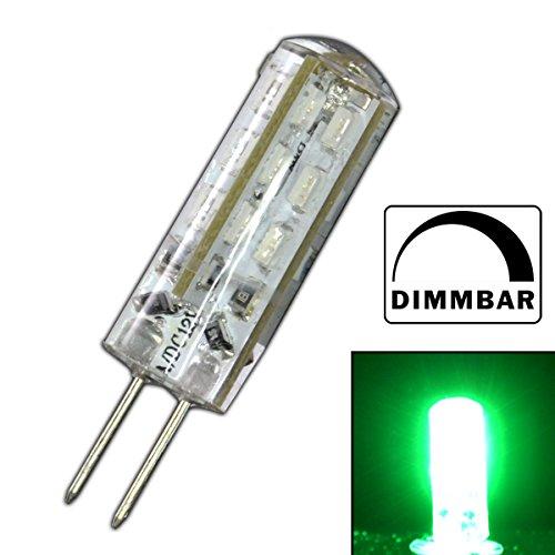 Dimmbare G4 LED mit 1,5 Watt DIMMBAR und 24 SMDs GRÜN - grünes Licht 12V DC für Dimmer Halogenförmig Stiftsockel 330° Leuchtmittel Lampensockel Spot Halogenersatz Lampe