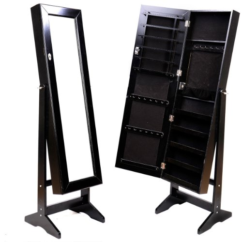 Mirrored Jewelry Cabinet Amoire Black W/Stand Mirror Organizer Storage Box Rings front-43983