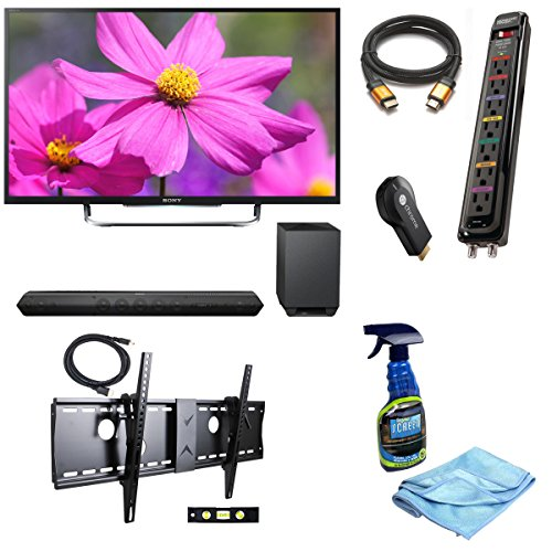 "Sony 54.6"" (Diag) W800B (Kdl55W800B Kdl-55W800B) Premium Led Hdtv + Hd Soundbar With Wireless Subwoofer + Google Chromecast Hdmi Streaming Media Player + High Speed Orange Gold Hdmi Cable + Flat Screen, Lcd, Plasma & Tv Screen Cleaner + Monster Mp Av 625"
