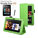 LUVCase - PU Leather Stand Case Cover Skin With Built-in Magnet Sleep / Wake Function Sensor + Screen Protector + ProPen Stylus Pen Touch Screen Pen For Amazon Kindle Fire 7 inch HD 2013 2nd Generation Version - Green