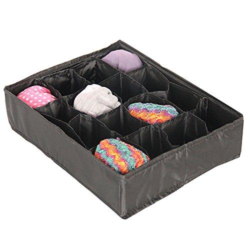 Mondex EVE726-01 Organiseur de Tiroir pour Sous Vêtements avec 16 Compartiments Tissu/Plastique Noir 36 x 10 x 3 cm