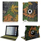 NetsPower® Retro Camouflage Branch Leaf 360 Degrees Rotating PU Leather Smart Cover Case Pouch Stand Auto Sleep Wake up Function for Apple iPad 2 3 4 - Pattern 2