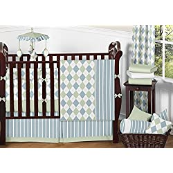 Sweet Jojo Designs Modern Blue and Green Argyle Baby Boy Beddings 9pc Crib Set