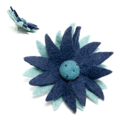 Blue Wool Fabric Flower Pin: Handmade & Fair Trade