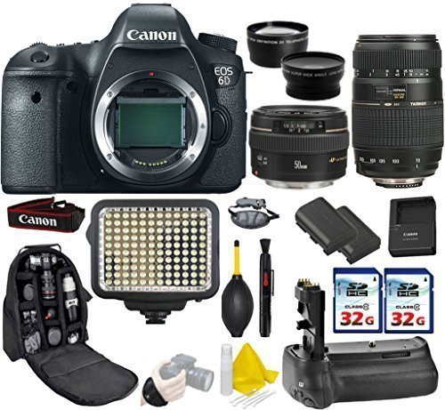 Canon EOS 6D DSLR Camera + Canon 50mm f/1.4 USM + Tamron 70-300mm + Kit Includes Deluxe Camera Backpack+ 2Pcs 32GB Commander MemoryCard + Battery Grip + Extra Battery (Dial Canon 6d compare prices)