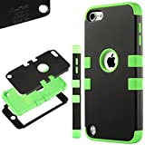 iPod Touch 5 case,ULAK® Hybrid 3 Layer Hard Case Cover with Silicone Soft Shell Inside Case for Apple iPod Touch Generation 5 (Black / Green)