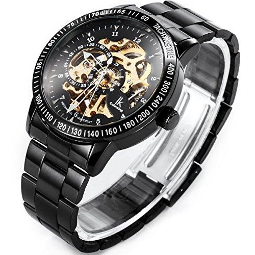Alienwork IK mechanische Automatik Armbanduhr Skelett Automatikuhr Uhr schwarz Edelstahl 98226-07 4
