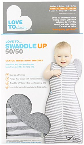 Love To Dream Swaddle UP- 50/50- Gray Stripe- Large 18.5-24 lbs - 1