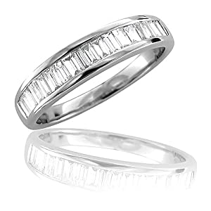 14K White Gold Diamond Wedding Ring Band (GH, I1, 0.50 carat)