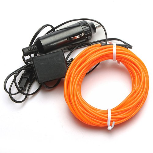 5M Orange Led Flexible El Wire Rope Tube Cable Strip Lamp Neon Glow Glowing Car Light With 12V Inverter For Xmas Dance Party Decor Portable