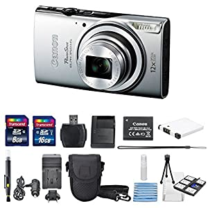 Canon Powershot ELPH 350 HS 20.2MP (Silver) With US Warranty + Total Of 24 GB SDHC Class 10 & AC/DC Turbo Travel Charger + Extra Battery (NB-11L) + Mini Tripod Along With a Deluxe Cleaning Kit
