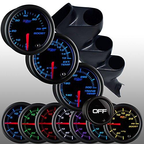 Glowshift 00-06 Gmc Sierra Duramax Diesel Gauge Package W/ Tinted 7 Color Boost, Egt & Trans Temp