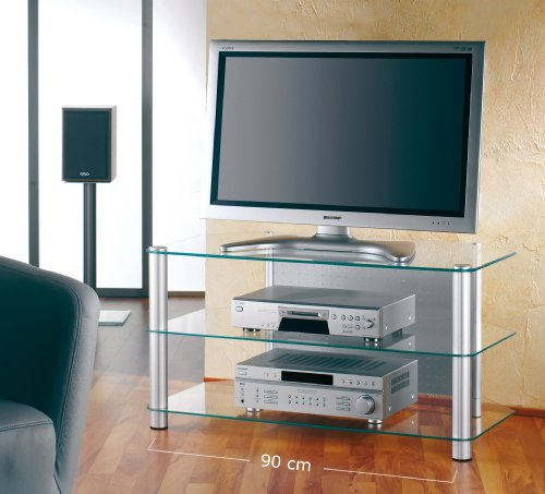 vcm tv m bel siena xxl klarglas rack aluminium glas tv m bel online shop. Black Bedroom Furniture Sets. Home Design Ideas