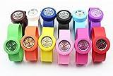 12色 子供 時計 巻き 脱着簡単腕時計 スラップオンウォッチ SLAP ON WATCH キッズ 男孩 女孩 (ブラック BK) ランキングお取り寄せ