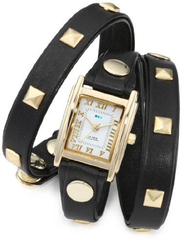La Mer Collections Donna LMLW1010A Black Gold Pyramid Stud Wrap Orologio