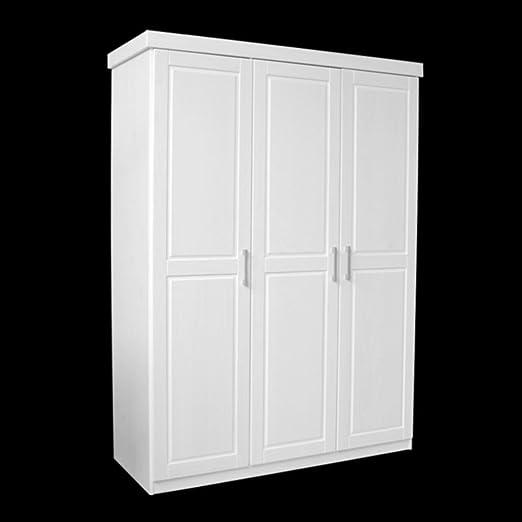 Kleiderschrank MAGNUS Tony B 3- turiger Kiefer Massiv / Weiß lackiert
