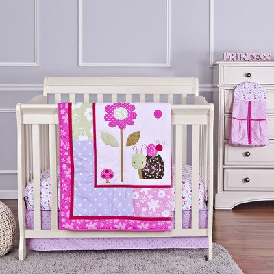 Dream On Me Spring Time 5 Piece Set Reversible Portable Crib Bedding Set