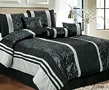 Luxury Home 7-Piece Eudora Comforter Set, King, Black