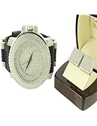 3d Cube Style Box Cut Real Lab Diamond Screw On Earring Silicon Band Watch Combo