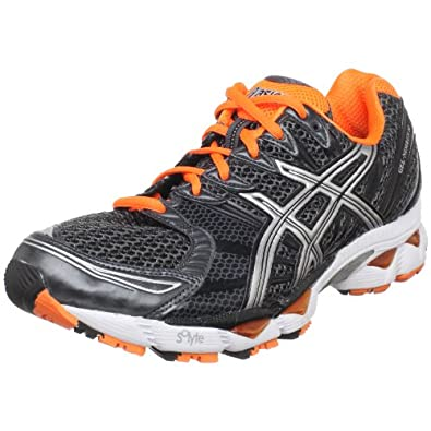 ASICS Men's GEL-Nimbus 12 Running Shoe,Charcoal/Lightning/Neon Orange,7 M US