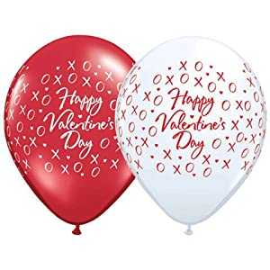 "11"" Valentine's Xoxo's & Hearts Around Balloons (10 ct) Latex (10 per package)"