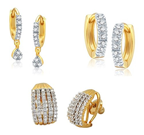 Youbella Combo Of 3 American Diamond Gold Plated Hoop Earrings For Women/Girls