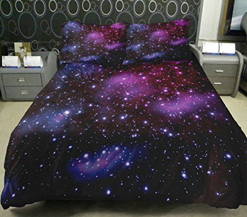 Anlye Galaxy Quilt Cover Galaxy Duvet Cover Galaxy Sheets Space Sheets Outer Space Bedding Set With 2 Matching Pillow Covers(Full) front-1069838