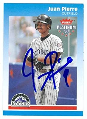 Juan Pierre autographed Baseball Card (Colorado Rockies) 2002 Fleer Platinum #211