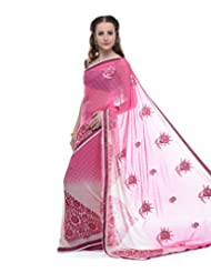LiVi Chiffon Two Tone Printed Saree With Crystals & Border For Women - B00PU1MBBU