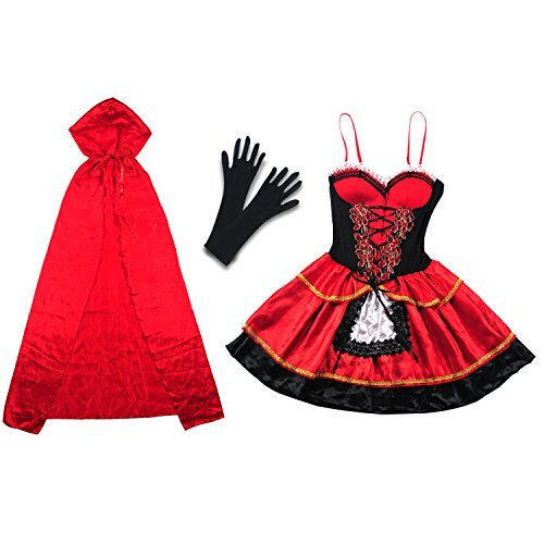 Halloween Costume, Vitalismo Wench Little Hooded Cosplay Dress with Cape Glove (Red Riding Hood Cape For Teens compare prices)