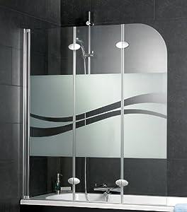 Schulte badewannenaufsatz 3 teilig d3354 dekorglas liane for Badewannenspritzschutz