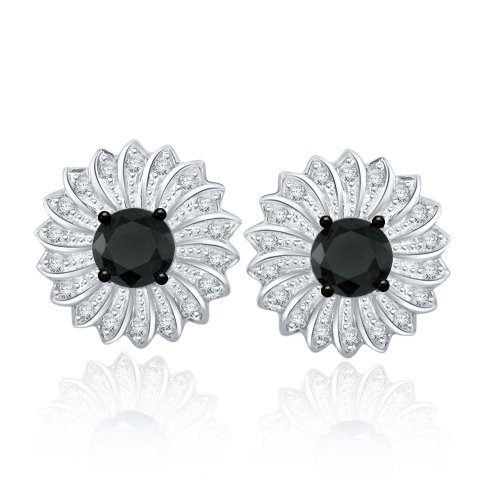 Sterling Silver Simulated Black & White Diamond Studs-062ct