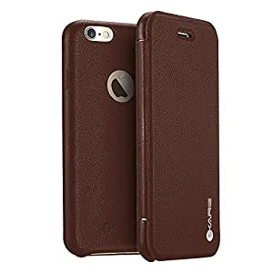 iPhone 6s Plus Case, iKare - Premium Full-Body Protection Folio Leather Flip Wallet Case Cover for iPhone 6 Plus /6s Plus 5.5 inch [Plain Series] - BROWN