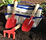 Childrens Gardening Tools and Bag - 4-piece - Quality Steel Garden Tools for Kids with Tough Canvas Tote