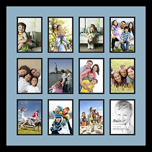 Art to Frames Double-Multimat-229-716/89-FRBW26079 Collage Photo Frame Double Mat with 12 - 5x7 Openings and Satin Black Frame