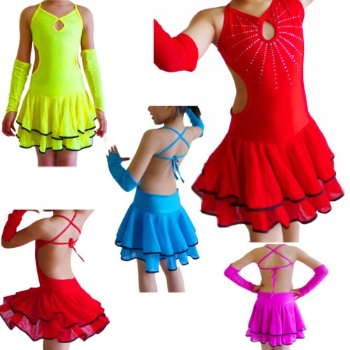 Seawhisper Children's Latin Dance Costumes Latin Dance Dress Girls Salsa Tango Sequin Cha Cha Dance Dress