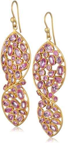 Lauren Harper Collection Sugar Buzz 18k Gold, 8.96 cts Rose Cut Pink Sapphire Twist Earrings