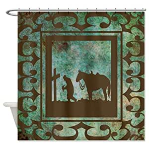 Cowboy Praying At The Cross Shower Curtain