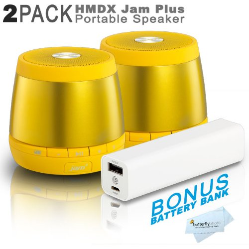 2 Pack Hmdx Hx-P240Yl Jam Plus Portable Speaker - Allows You To Pair A 2Nd Jam Plus Speaker For True Stereo Sound (Yellow) + Free Bonus Photive 3000Mah Portable Battery Charger Power - Allows You To Charge Your Speakers Or Phone On The Go